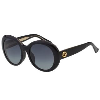 【GUCCI】-復古圓框 太陽眼鏡(黑色)