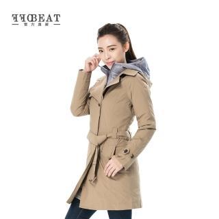 【OFFBEAT】女款單排釦簡約時尚防水風衣(卡其)