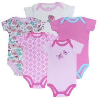 【美國 luvable friends】嬰幼兒短袖包屁衣5件組_玫瑰花蝴蝶(LF30835)