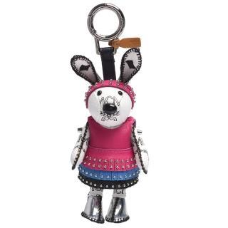 【MCM】Rabbit Charm小白兔卯釘皮革裙塗層帆布鑰匙圈/吊飾(桃紅MYZ-6SXL30-WT001)