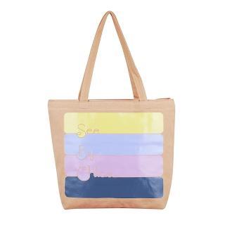 【See by Chloe'】經典LOGO塗鴉淡系色彩造型帆布束口托特購物肩背包(駝色)