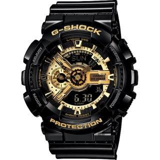 【CASIO】卡西歐 G-SHOCK 黑金重機雙顯錶(GA-110GB-1A)