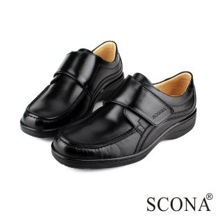 【SCONA 蘇格南】全真皮 經典舒適側帶紳士鞋(黑色0821-1)