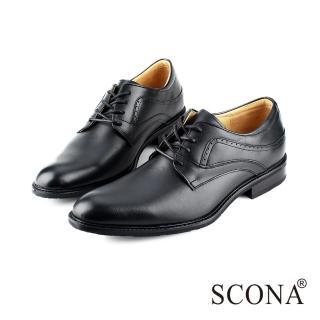 【SCONA 蘇格南】全真皮 義式經典綁帶紳士鞋(黑色0826-1)