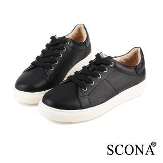 【SCONA 蘇格南】全真皮 個性綁帶厚底休閒鞋(黑色7242-1)