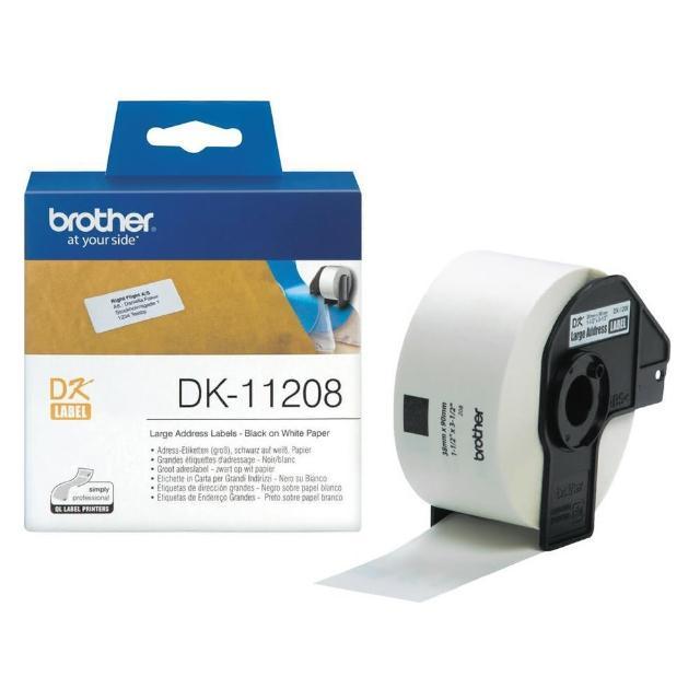【Brother】DK-11208 定型標籤帶 38x90mm 白底黑字(速達)