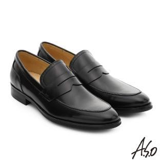 【A.S.O】職人通勤 簡約全真皮直套式紳士皮鞋(黑)