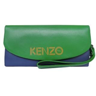 【KENZO】雙色皮革翻蓋長夾 附手掛帶(藍綠)
