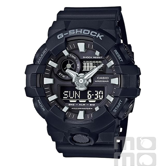 【CASIO】卡西歐G-SHOCK 鬧鈴電子錶-黑(GA-700-1B)