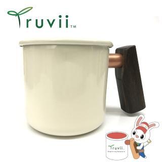 【Truvii】月光白黑檀木柄琺瑯杯 400ml