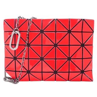 【ISSEY MIYAKE 三宅一生】BAOBAO FLIPPER 幾格方格5X7手拿鎖包(紅)