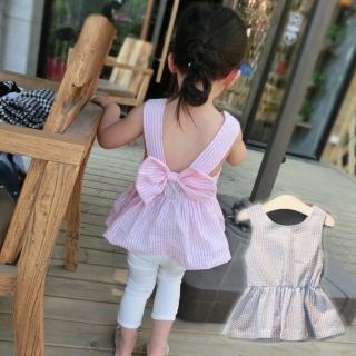 【小衣衫童裝】露背蝴蝶結條紋背心裙上衣(1050703)