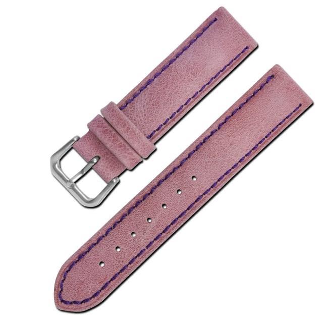 【Watchband】各品牌通用柔軟簡約質感車線牛皮錶帶(紫色)