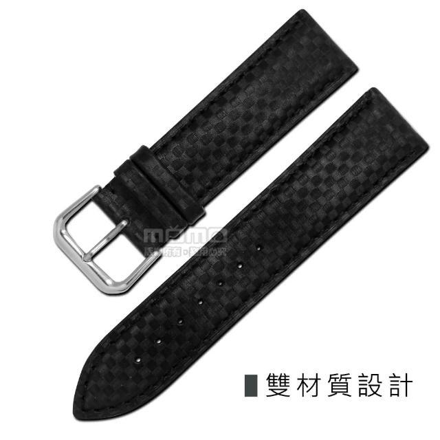 【Watchband】時尚指標仿碳纖維雙材質錶帶(黑色)