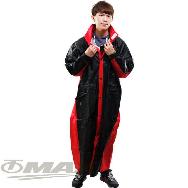 【JUMP】新二代新帥前開式休閒風雨衣-紅黑-超大5XL+通用鞋套(12H)