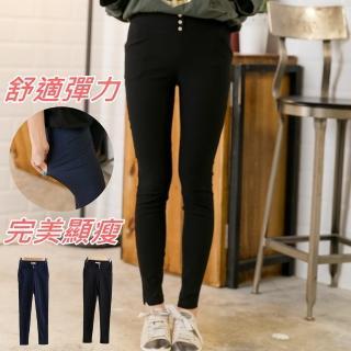 【衣心衣意中大尺碼】平織彈性腰鉚釘口袋窄管內搭褲(黑-件仔藍YG1A7014)