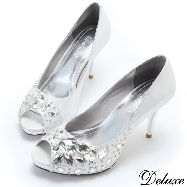 【Deluxe】歐式浪漫冰雪閃亮晶鑽魚口高跟鞋(白)