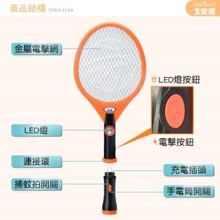 【大家源】三層分離式充電LED照明電蚊拍-橘-2入組(TCY-6203)