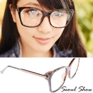 【Seoul Show】貓眼方框 平光眼鏡(2049豹紋)