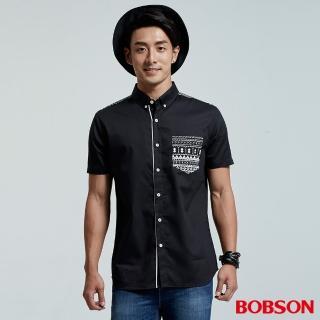 【BOBSON】男款圖騰印花襯衫(黑26034-88)