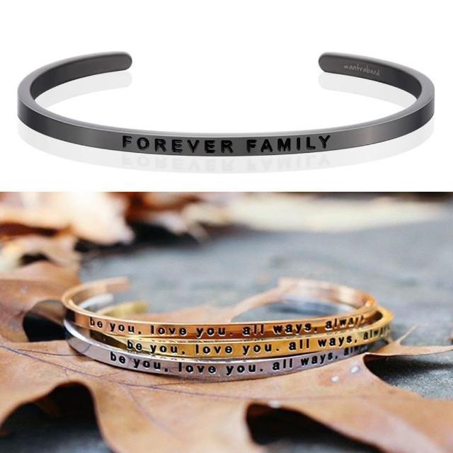 【MANTRABAND】美國悄悄話手環 FOREVER FAMILY 永遠的家人 新款灰銀手環(悄悄話手環)