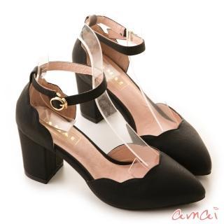 【amai】舒適首選-浪漫花瓣尖頭繫踝粗跟鞋(黑)