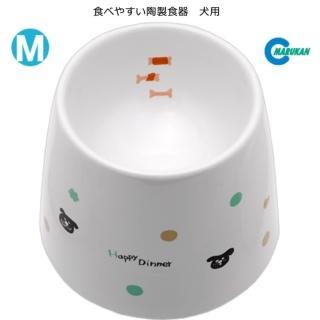 【Marukan】加高型 陶瓷狗食碗 M號(DP-248)