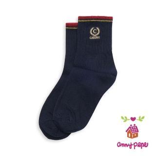 【annypepe】兒童純棉短襪-滾紅邊刺繡款
