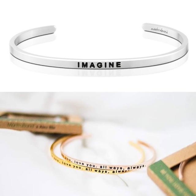 【MANTRABAND】美國悄悄話手環 Imagine 想像力 就是創造力 銀色(悄悄話手環)