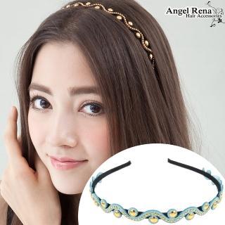 【Angel Rena】波浪麂皮亮珠髮箍(粉藍)