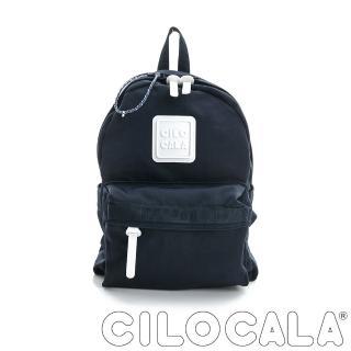 【CILOCALA】亮彩尼龍防潑水後背包-中包(深藍色)