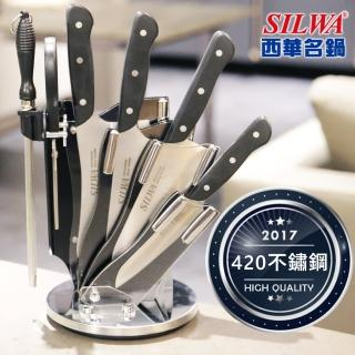 【西華SILWA】工匠級七件式刀具組-含精美壓克力360°旋轉刀座