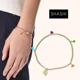 【SHASHI】美國品牌 Lilu 彩虹流蘇 幸運手鍊 銀色(幸運手鍊)