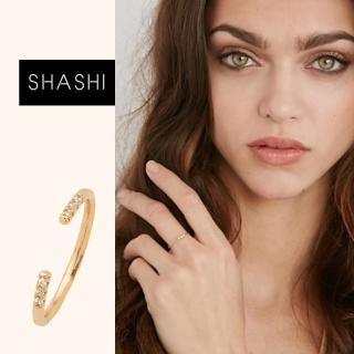 【SHASHI】紐約品牌 AVA 金色平衡骨戒指 鑲鑽設計 亮面優雅圓弧 C型可調式(C型可調式)
