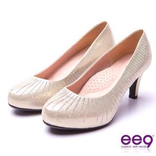 【ee9】芯滿益足-璀璨迷人奢華閃耀鑲嵌亮鑽內增高跟鞋*金色(跟鞋)
