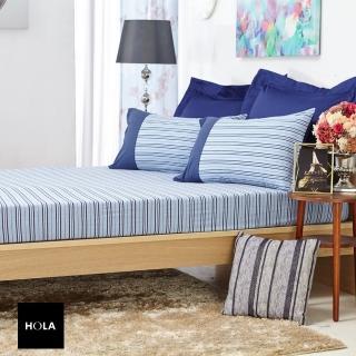 【HOLA】HOLA 自然針織條紋床包雙人城市藍