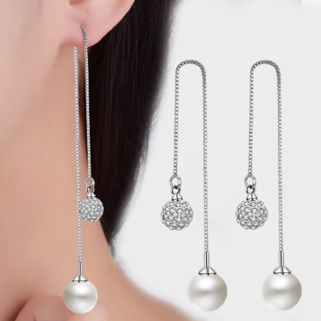【梨花HaNA】925銀珍珠水鑽球球映照閃耀長耳線耳環