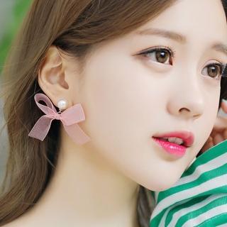 【梨花HaNA】韓國夢幻女孩珍珠緞蝴蝶結耳環