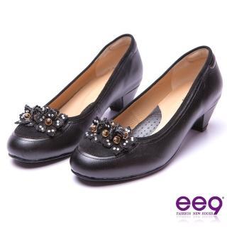 【ee9】經典手工-都會優雅異材質併接鑽飾造型花朵跟鞋*黑色(跟鞋)