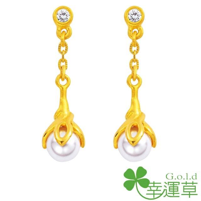 【幸運草clover gold】晨曦微露 水晶珍珠+黃金 耳環