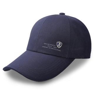 【活力揚邑】防曬防紫外線防風戶外運動透氣鴨舌帽盾形F刺繡棒球帽(藍)