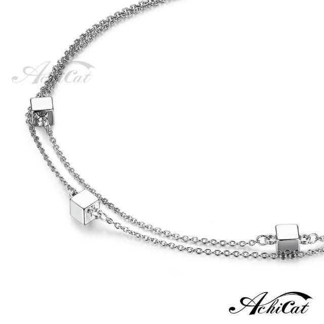 【AchiCat】雙鍊腳鍊 正白K 方塊樂園 銀色 J6005