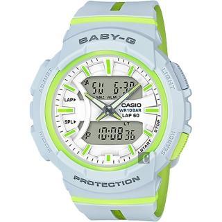 【CASIO】卡西歐 Baby-G 慢跑手錶-淺灰x螢光(BGA-240L-7ADR)