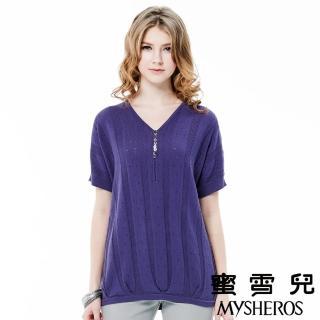 【蜜雪兒mysheros】莫代爾嫘縈V領針織上衣(紫)