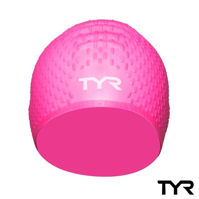 【美國TYR】Long Hair Silicone Cap Pink 凸點泳帽(女用-粉)