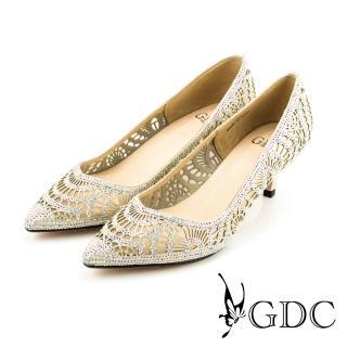 【GDC】性感水鑽寶石沖孔真皮尖頭高跟鞋/婚鞋-粉色(714902)