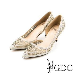 【GDC】性感水鑽沖孔內側簍空真皮尖頭高跟鞋/婚鞋-粉色(714901)