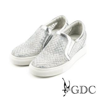 【GDC】水鑽寶石格紋簍空內增高懶人休閒鞋-銀色(714614)