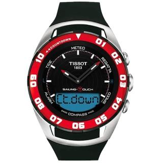 【TISSOT】Sailing Touch 風帆專業觸控腕錶-黑x紅框/45mm(T0564202705100)