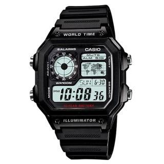 【CASIO】十年電池數位錶-白面(AE-1200WH-1A)